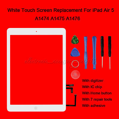 White Replacement For iPad Air 5 Touch Screen Digitizer Front Lens with IC Chip