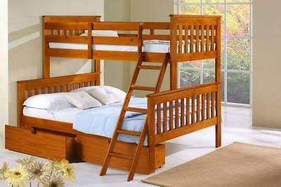 Solid Wood Dark Oak Twin Over Full Bunk Bed With Storage! - HOUSTON ONLY