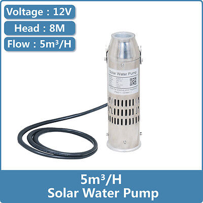 DC Brushless Solar Water Pump 12V 5000L/H PV Fountain Pump 8m Head