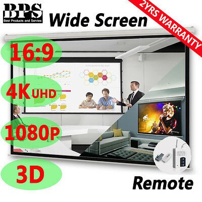 """120"""" 16:9 Pure Electric Motorised Projector Screen Home Theatre 3D TV Projection"""