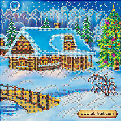 Beadpoint DIY kit Xmas Night Seed Beads Needlepoint on Canvas Unique Gift