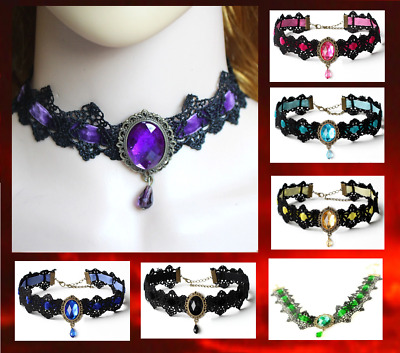 Gothic Lace 8 Colours Choker Victorian Burlesque Collar Retro Necklace UK Seller