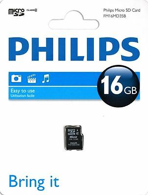 Genuine Philips 16Gb Class 4 Micro Sdhc Memory Card With Sd Adapter - Fm16Mp35B