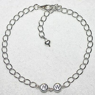 NEW Sexy Chain Link HW = Hotwife Heart Charm Anklet / Ankle Bracelet Fun Gift