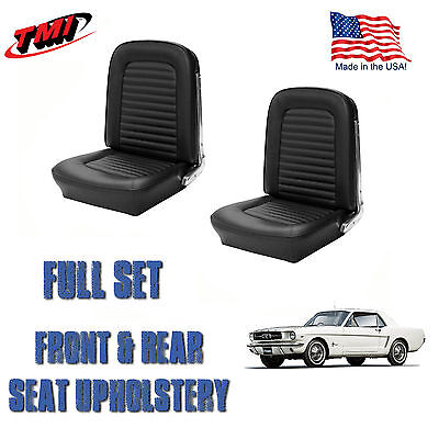 Front and Rear Seat Cover Upholstery Black for 1964-1965 Mustang Coupe, In Stock