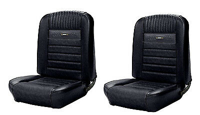 Deluxe PONY Bucket Seat Upholstery Black 1964 1965 1966 Ford Mustang (Front)