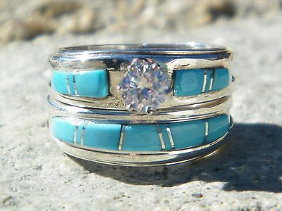 Native American Indian Navajo Wedding Rings Band Turquoise CZ Muskett Sz 10 1/2