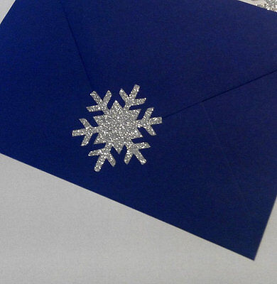 silver GLITTER christmas snowflake stickers envelope seals gift wrapping decor
