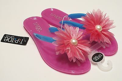 WHOLESALE Lot of 42 prs GIRLS FROSTED JELLY FLIP-FLOP w FLOWER