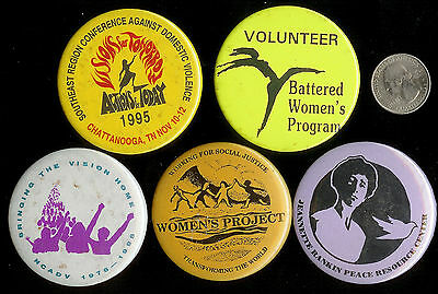 5 Rare Vintage Battered Women's Rights Pin Back Buttons Stop Domestic Violence