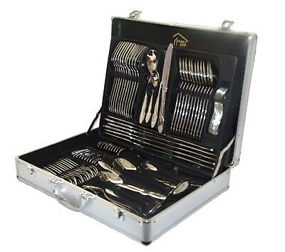 84 Piece 18/10 Stainless Steel Silver & Gold Detail Supreme Quality Cutlery Set