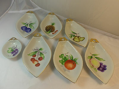 Vintage Hand Painted Noritake Giftcraft Teardrop Dishes Fruits Nuts HTF Japan