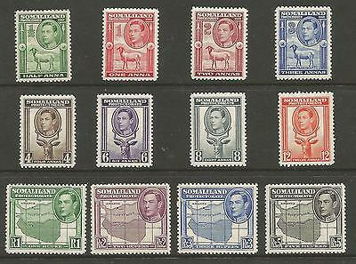 Somaliland Protectorate Sg93-104 The 1938 Gvi  Set Lightly Mounted Mint Cat £150