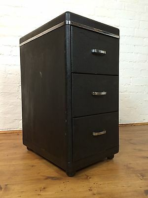Vtg Mid Century 40s 50s Black Metal French Filing Cabinet Drawers Industrial