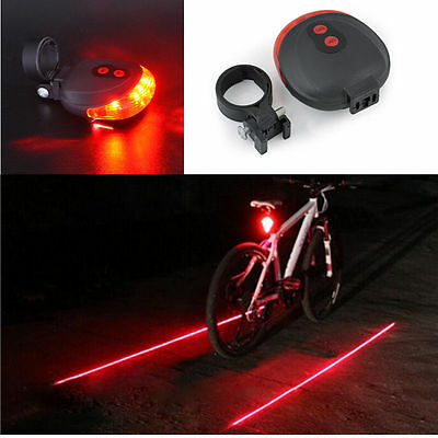 Bike 2 Laser+5 LED Flashing Lamp Rear Cycling Bicycle Tail Safety Warning Light