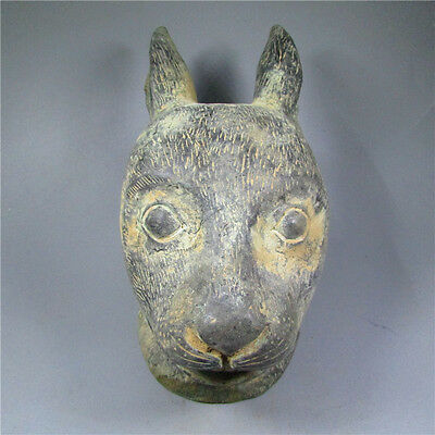 Ancient Chinese dynasty bronze ,hand-carved,old bronze,rabbit Statue art AAAA