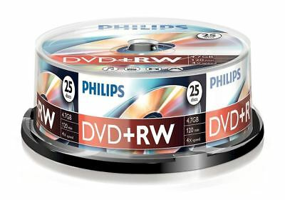 Philips DVD+RW 120 Mins 4.7GB 4X Speed Recordable Blank Discs - 25 Pack Spindle