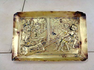 19th C Victorian Tray Plate Ashtray Decorative Embossed Woodcut Antique Brass