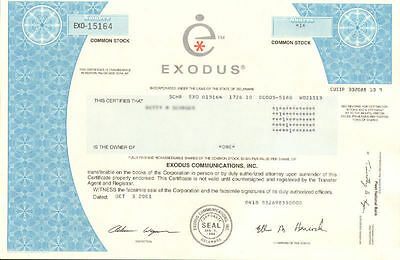 Exodus Communications   dot-com bubble internet stock certificate share
