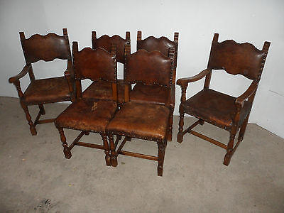 A Pretty Set of 6 Golden Oak Art Deco Leather Dining Chairs c1930s