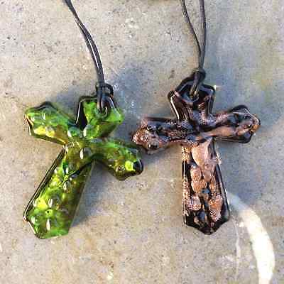 Green or black Murano glass celtic cross pendants. Irish jewellery and Gifts.