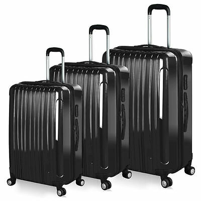 Hard Shell Suitcase 4 Wheel Luggage Trolley Cabin Carry On Case MATTE BLACK