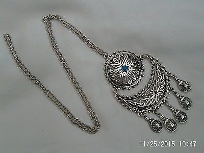 Moroccan Berber Jewelry:Superb Disc Half Moon Filigree Turquoise Centre Necklace