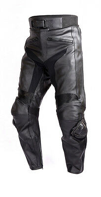 Mens Motorcycle Race Leather Pants Black with CE Rated Armor and Sliders PT51