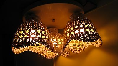 Pair Vintage Mid Century White Metal & Wicker Flush Mount Ceiling Light Fixtures