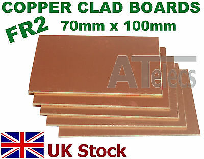 Copper Clad Boards  Single Sided  FR2  70mm x 100mm for PCB , Artwork - UK Stock