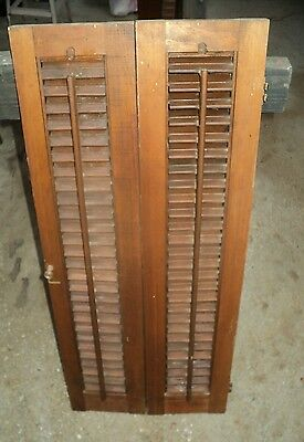 "Vintage Window Shutters Louvered Pine Wood  32"" x 13 3/4"" total window coverage"
