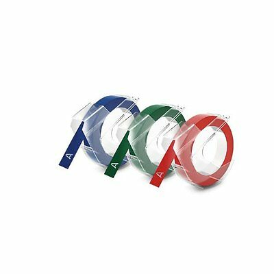 DYMO Embossing Tape, Red, Green and Blue, 3/8-Inch 1741671 1.6 ounces Durable