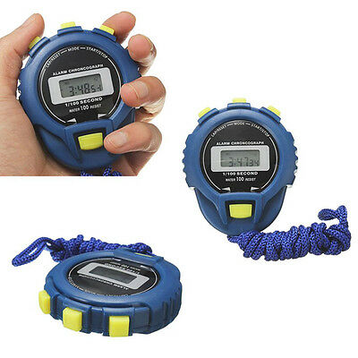 Waterproof Digital LCD Stopwatch Chronograph Timer Counter Sport Stop Watch Blue