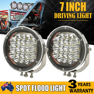 2x 7INCH 3600W CREE LED SPOT&FLOOD DRIVING LIGHT BAR REPLACE HID 4X4WD UTE SUV