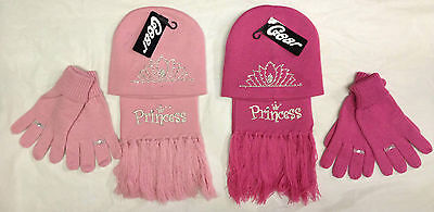 Girls Kids Childrens Winter Knitted Hat Gloves And Scarf 3 Piece Set One Size