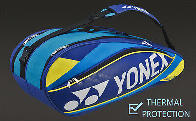 Yonex 9526B Tennis Badminton Squash Bag - 6 Racket - Thermal - Blue