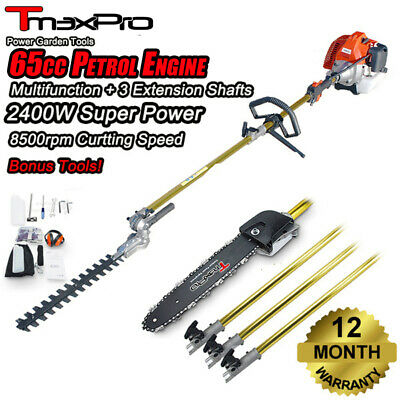 Teammax Pole Chainsaw Hedge Trimmer Pruner Chain Saw Brush Tree Cutter 62cc 2 st