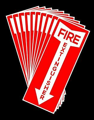 "10 Pack Self-Adhesive Fire Extinguisher Arrow Signs - 4.25"" X 11""  Brand New"