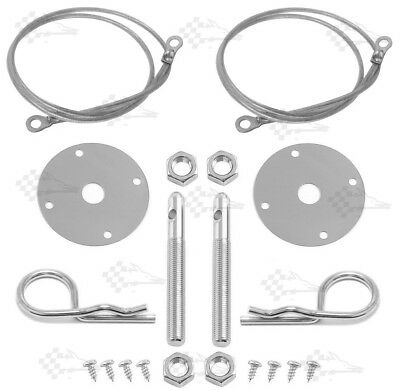 """Chrome Bonnet Pin Kit / Hood & Deck Pins With Lanyards & 3/16"""" Safety Clips"""