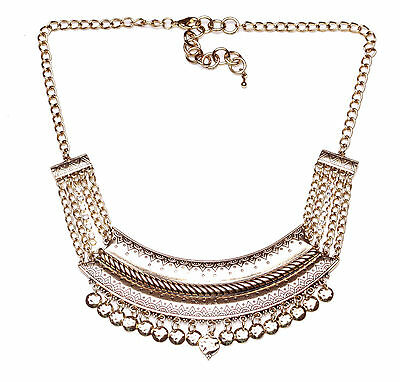 GLAMOROUS AZTEC INSPIRED GOLD ADJUSTABLE NECKLACE INTERWOVEN CLOTH NS2
