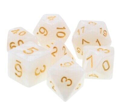 NEW 7 Piece Polyhedral Dice Set - Frosted White with Gold - RPG Game D&D