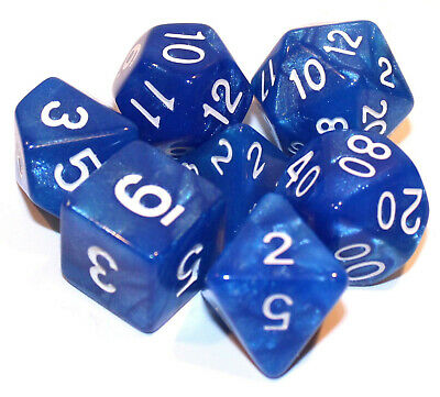 NEW 7 Piece Polyhedral Dice Set - Pearl Blue - RPG Game D&D