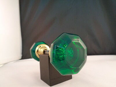 Antique 8 Sided Glass Doorknobs Colored And Dyed ( Emerald Green)   Solid Brass