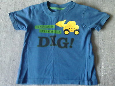 Baby Boys 18-24 Months - Blue T-Shirt with Digger Motif - Mothercare