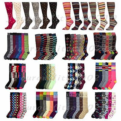 Women's Girl Lady Knee High Socks Lot Multi Pattern School Argyle 9-11