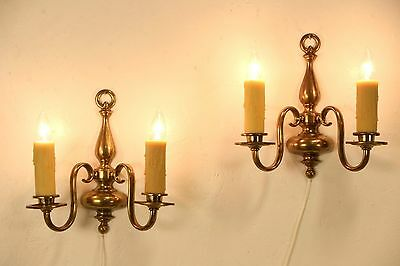 Pair of 1910 Antique Brass Wall Sconce Lights, Beeswax Candles
