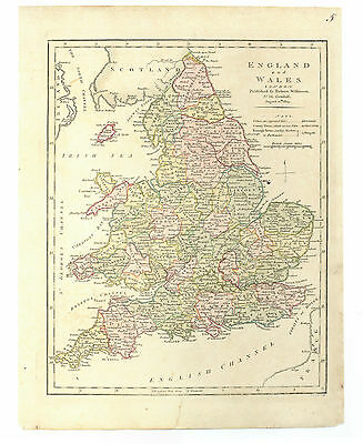 Antique Map of 1805 England & Wales by Robert Wilkinson