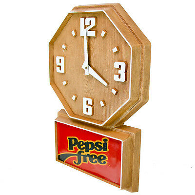 1982 Pepsi Free Wall Clock Large Wood Look Electric Home Plug Vintage Old Soda