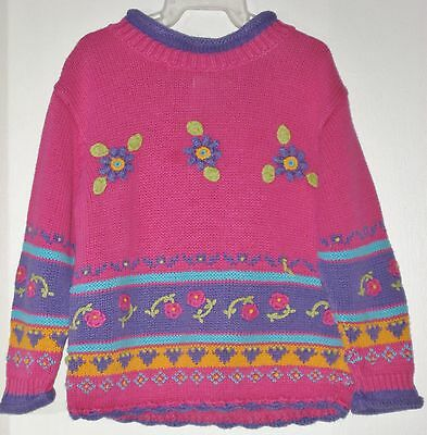 POLKATOTS Girls Size 2T Multi-Color Knit Floral Pullover Sweater