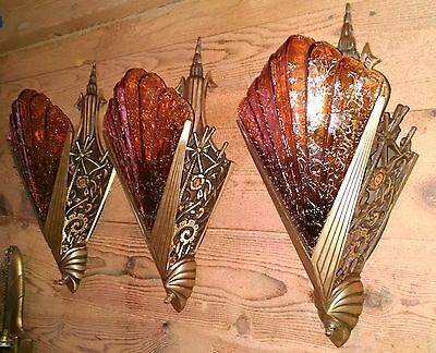 Set 3 Antique Art Deco Sconces-Crackle Glass Slip Shade-Bronze Vintage Fixture